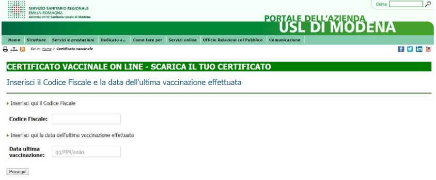 certificato vaccinazioni modena